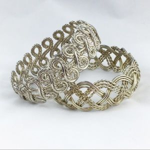 Jewelry - Pair of Woven Braided Twisted Metal Bangles